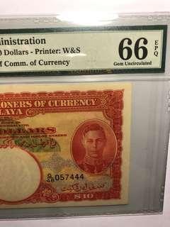 1941 Malaya King George VI $10 G/48 057444 PMG 66 EPQ( Rare!!)