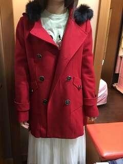 百貨專櫃MA TSU MI紅色連帽大衣
