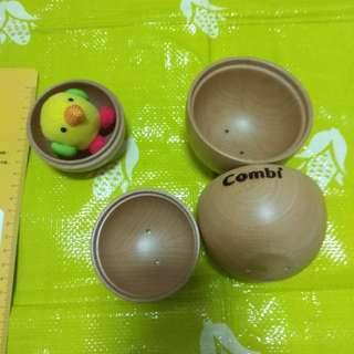 Combi 木製 雞蛋 小雞 置物 玩具 組