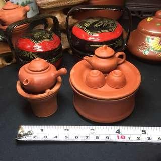 Rare Mini Clay Tea Set And Clay Pot With Stove Collectible