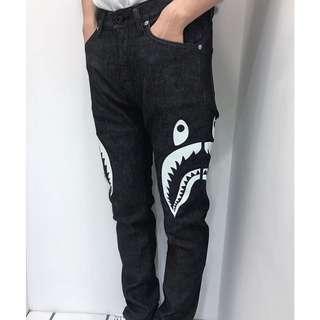 BAPE SIDE SHARK SLIM STRETCH DENIM PANTS