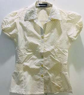 Classy Buttondown Blouse with Beige Polka Dots