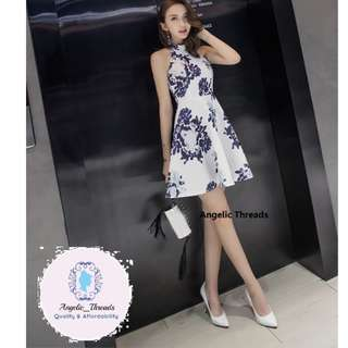 (Ready Stock KL) Woman Dress Dinner Dress Halter Neck Mini Dress Elegant Pleated Skirt Blouse