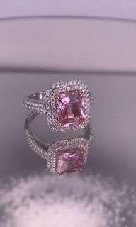 Padparadscha Diamonds 18K White Ring