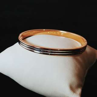 Two tone rosegold and silver bangle