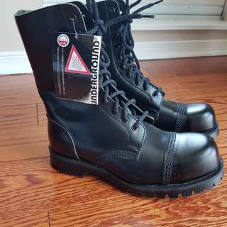 Underground Steeltoe Leather Boots UK6