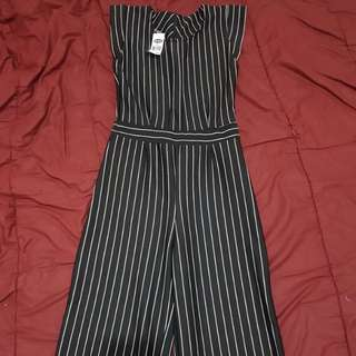 Stripe jump suit