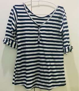 3/4 Cotton Top with Navy Blue Stripes