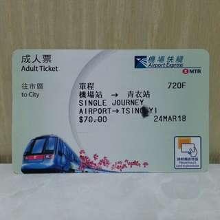 機場快線紙車票 (成人票)