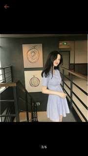 🚚 白條紋藍色洋裝