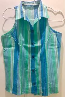 Buttondown Halter Top in Blue and Green Stripes