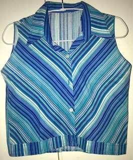 Striped Sleeveless Buttondown Top