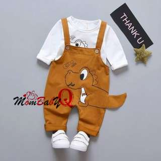 2-piece Cute Dinosaur Jumpsuit