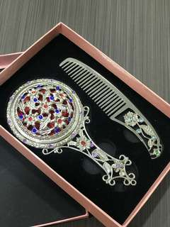 Makeup Mirror Comb Set