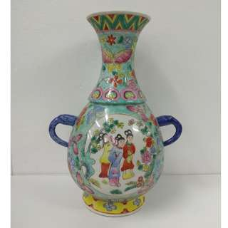 Special Artistic Porcelain Ornamental Vase Hand-painted long neck shape with handles and design of figurines in flowers and butterflies panel