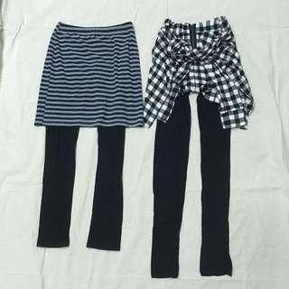 Pazzo 裙褲 CACO 美式休閒風經典黑白格紋假襯衫綁帶黑長褲 Leggings
