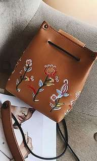 Brown Embroidered Bag - ONHAND