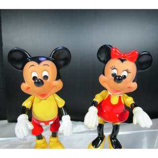 Vintage Disney Mickey Mouse & Minnie Mouse Figures