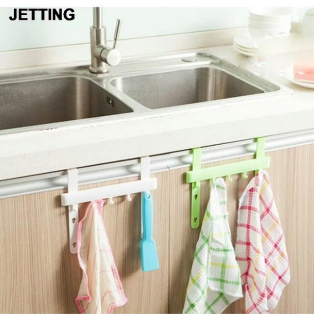 2pcs Holders Hangers Door Rack Hooks Kitchen Hanging Storage Hanging Holders Accessories Tool Robe Hooks Bathroom Hardware