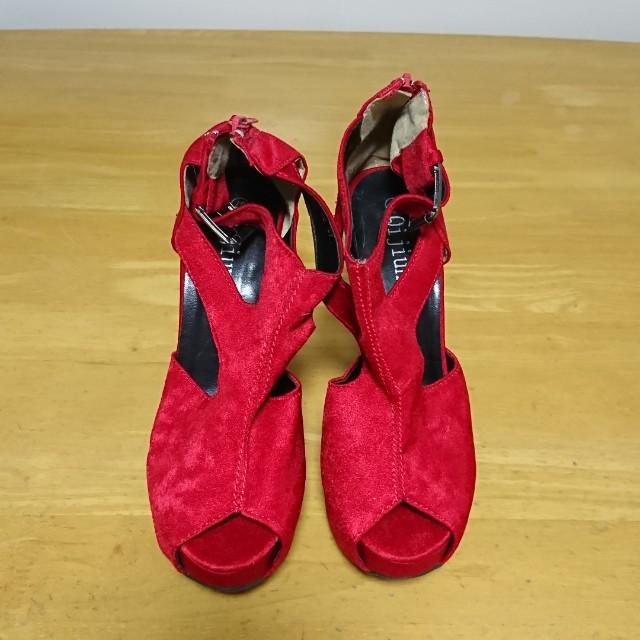 紅色魚口超高高跟鞋