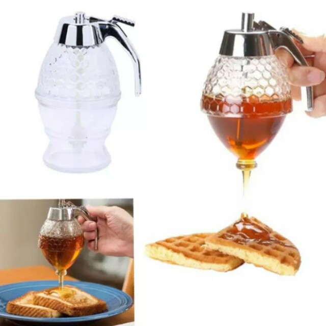 Acrylic Clear Juice Honey Dispenser Container Kettle Storage Syrup Spice Bee Bottle Honey Jars Kitchen Tools