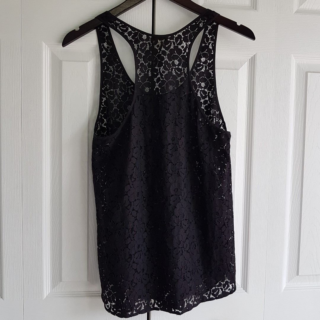 1349575ab7495 Aritzia WILFRED Black Lace Racerback Tanktop