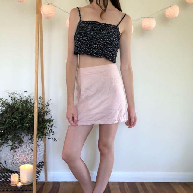 ASOS pink linen skirt