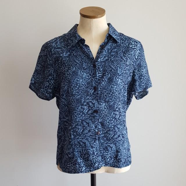 Blue Paisley Button Up Shirt