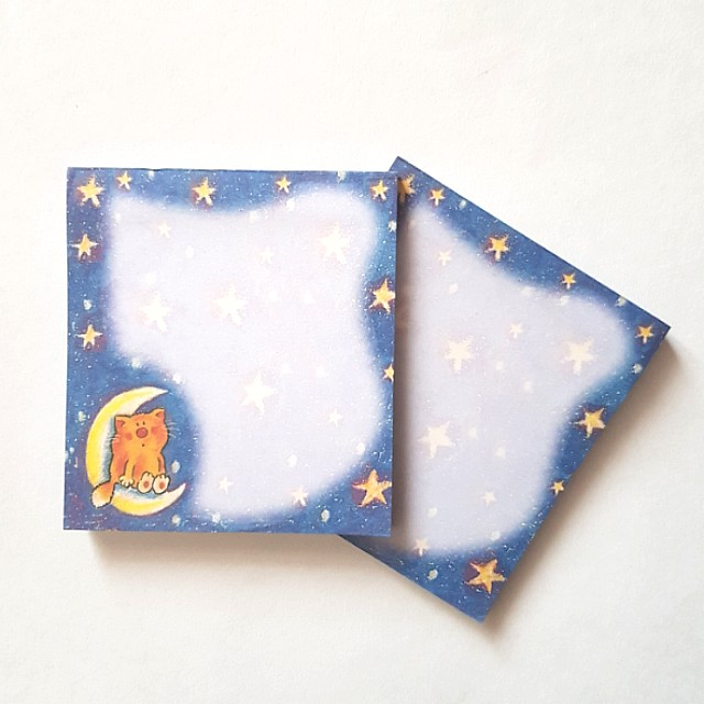 Cat & Moon Sticky Memo Pad - 40 pages