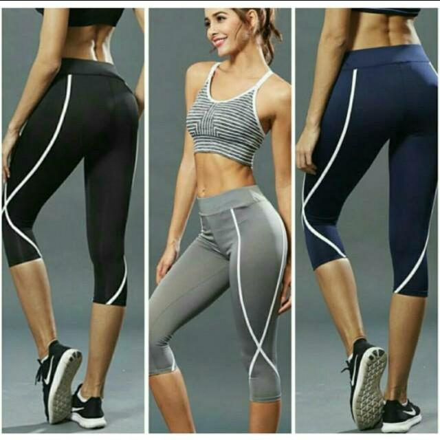 Celana Legging Sport 3 4 Tmk16 Women S Fashion Women S Clothes Bottoms On Carousell