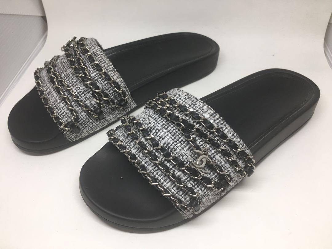 58129feb49f8 Chanel Grey Tweed   Silver Chain Link Slides 38