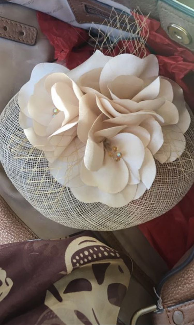 Cream floral fascinator hair accessory