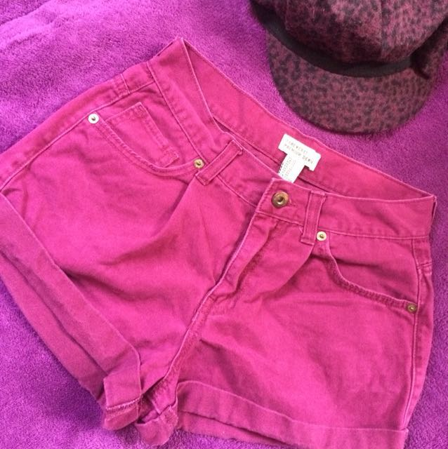 Forever 21 HW Burgundy Denim Shorts