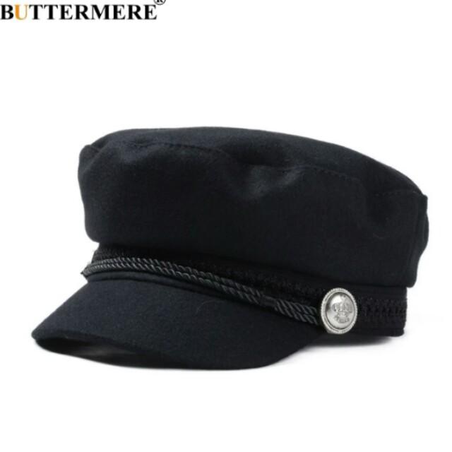 Gatsby Hat Female Black Wool Baker Boy Cap Flat Women Elegant Ladies ... 27276507bae