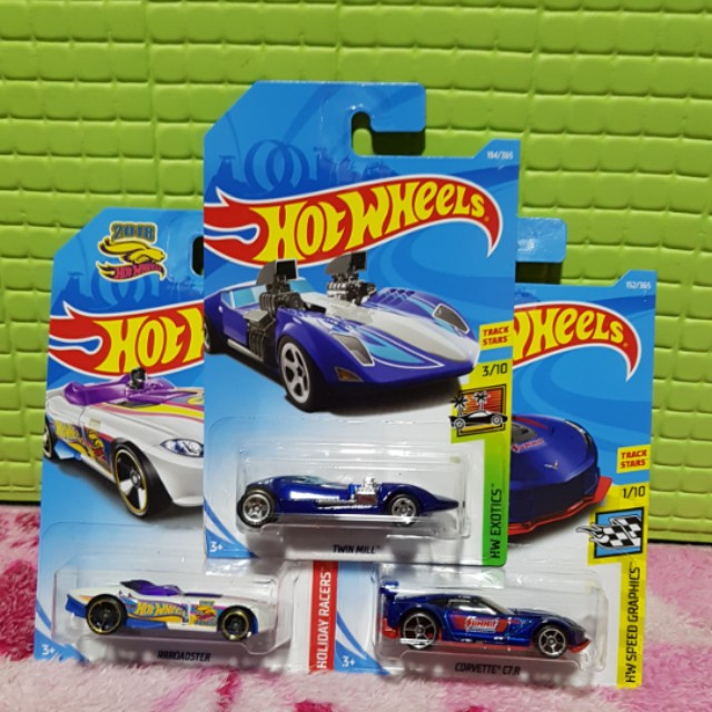 Hot Wheels 2018 Set of 3, RRRoadster TH, Twin mill,  Corvette C7 -R