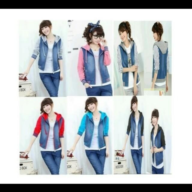 Jaket hoodie cewek jeans combination my trend - abu abu muda