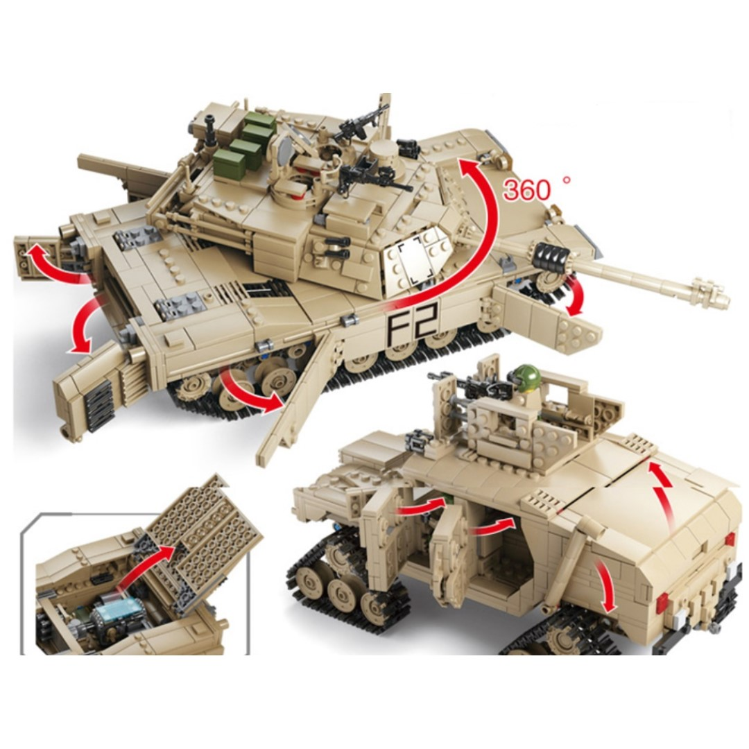 M1A2 Abrams Model Tank made from lego compatible blocks