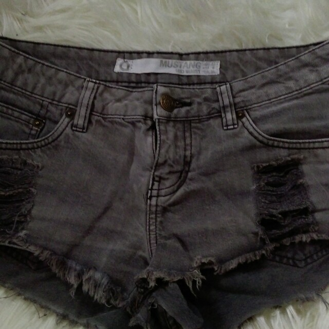 mid rise grey denim shorts
