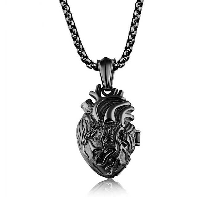 2ec0c92cfd SALES]🔲PUNK GOLD|BLACK|SILVER HEART STAINLESS STEEL COUPLE NECKLACE ...