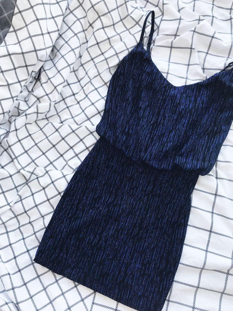 Sparkly Midnight Blue Midi Dress