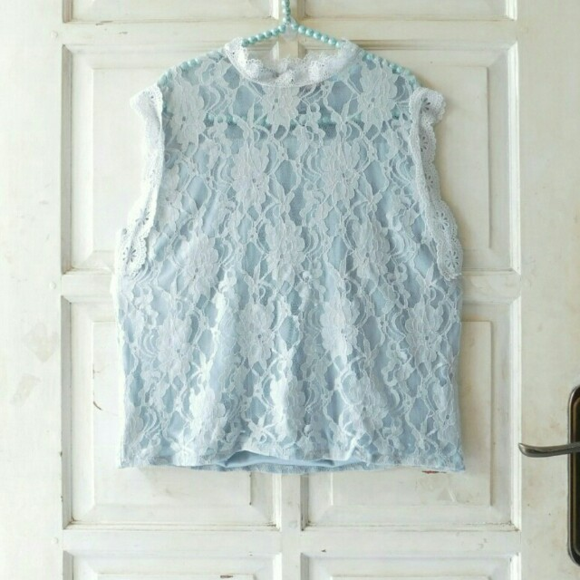TOP GULIANG LACE BLUE SILVERY