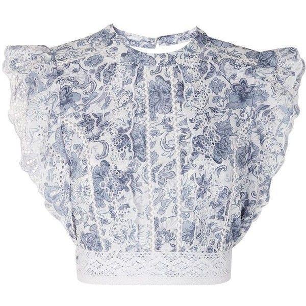 Topshop blue floral broderie Lace cotton crop top