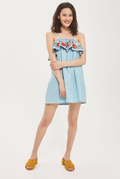 Topshop Moto bleach denim embroidered Bardot dress 12
