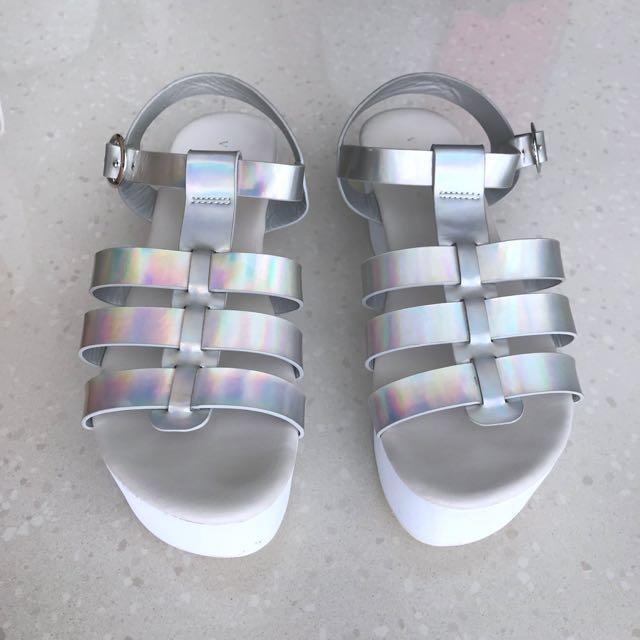 Vincci Hologram Silver Metallic Gladiator Strappy Platform Sandals