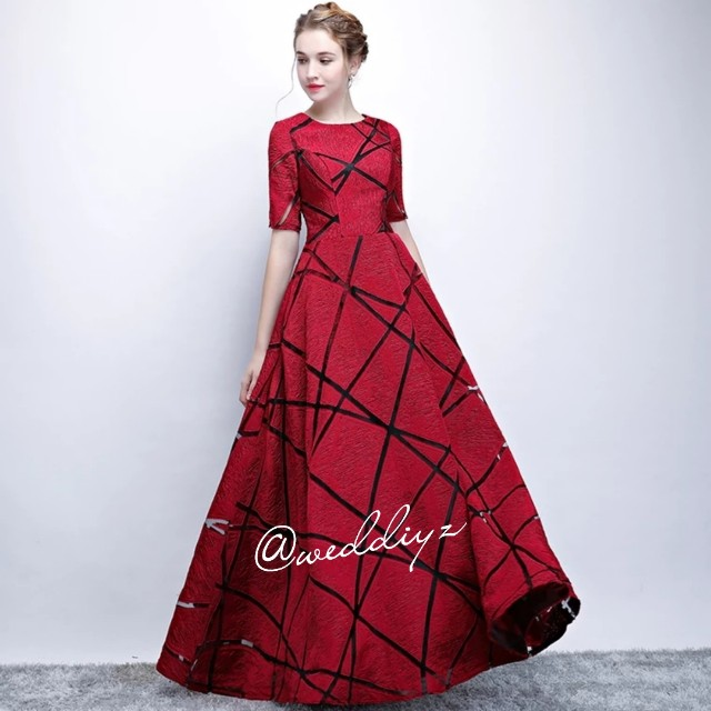 Wedding Simple Evening Gown Red Grey White Dress 2018 New