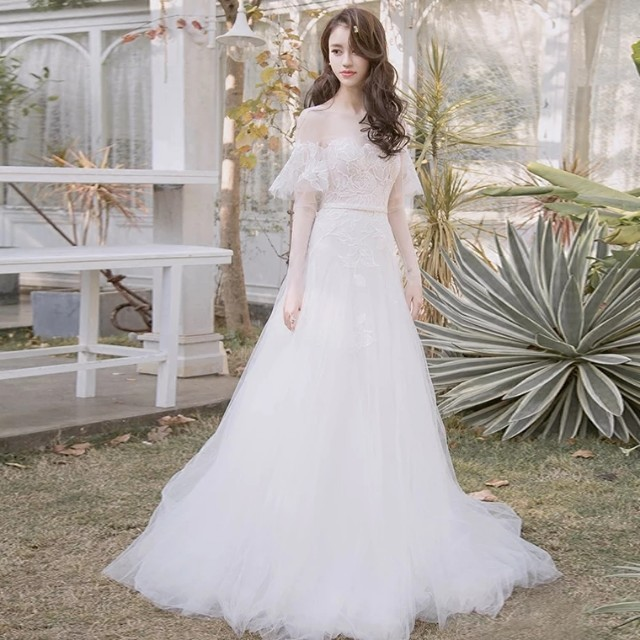 053d5977ab3 Wedding Simple ROM Gown Off Shoulder Lace Dress Garden Theme European   budgetbride