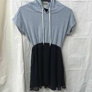 質感百搭氣質優雅街頭帽T連身裙 雪紡紗 裙子 灰色 黑色