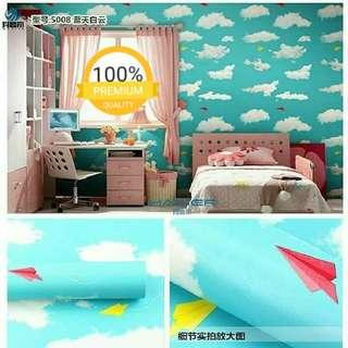 Grosir murah wallpaper sticker dinding indah langit biru kehijauan kapal kertas kuning merah