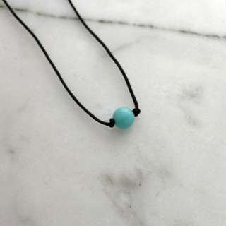 Natural Amazonite necklace/pendant (black string)