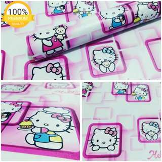 Grosir murah wallpaper sticker dinding indah kartun anak hello kitty pigura pink